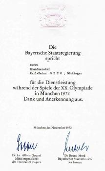 19720825 Urkunde Olympiade München