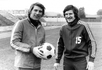 19740607 Göttingen 05 Trainer Reinhard Roder (l)