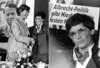 19860112 Renate Ewers und Rita Süssmuth nach der Wahl