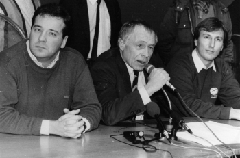 19860115 Geißler CDU (m) Vors. RCDS Brand (l) 2. Vors. Debatin