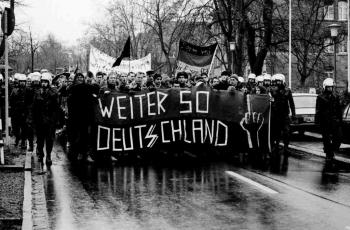 19861205 Demo gegen Polizei Razzia 1