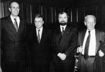 19920221 Nobelpreisträger mit Minister R. Ortleb,Sakmann,Neher,Eigen