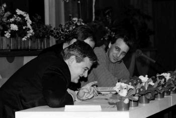 19940224 Grüne Wahlkampf Fischer, Trittin, Wenzel 1